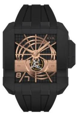RSW Mens 7110.MS1.R1.10.00 Crossroads Collection Black Dial Square Automatic Watch